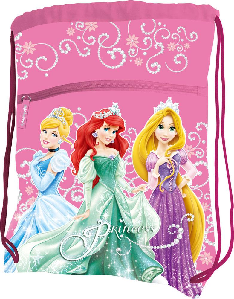 Сумка для сменной обуви Disney Princess, цвет: розовыйA-B86-05-CСумку Disney Princess удобно использовать как для хранения, так и для переноски сменной обуви. Она выполнена из прочного полиэстера и затягивается сверху текстильными шнурками. На лицевой стороне расположен большой внешний карман на застежке-молнии. Бегунок дополнен удобным текстильным держателем. Два небольших отверстия в нижней части обеспечивают вентиляцию. Плотный материал обеспечит надежность и долговечность сумки. Шнурки фиксируются в нижней части сумки, благодаря чему ее можно носить за спиной как рюкзак. Сумка оформлена ярким принтом с изображением очаровательных диснеевских принцесс.