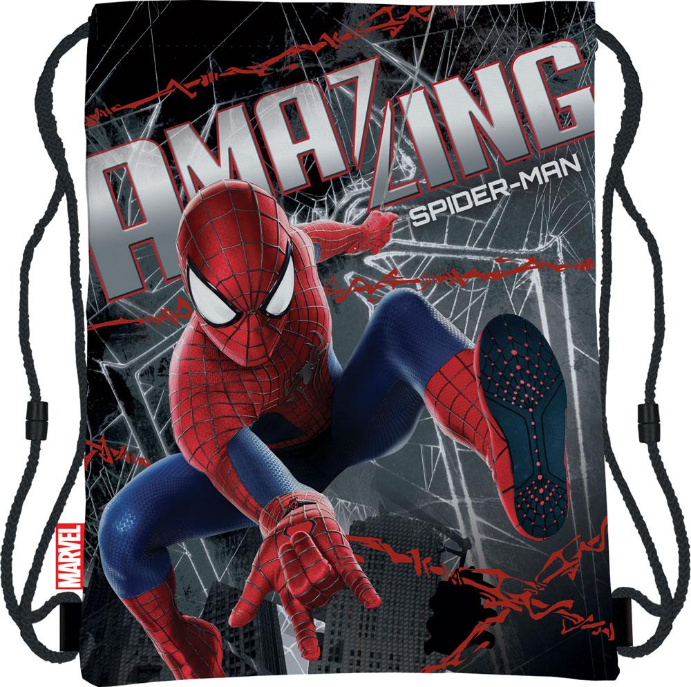 Сумка для сменной обуви Spider-Man, цвет: черныйS76245Сумка для сменной обуви Spider-Man идеально подойдет как для хранения, так и для переноски сменной обуви и одежды. Сумка выполнена из мягкого водоотталкивающего материала и дополнена одним вместительным отделением, затягивающимся с помощью текстильного шнурочка. Шнурки фиксируются в нижней части сумки, благодаря чему ее можно носить за спиной как рюкзак. Оформлено изделие ярким принтом с изображением Человека-паука - главного героя мультфильма Spider-Man.