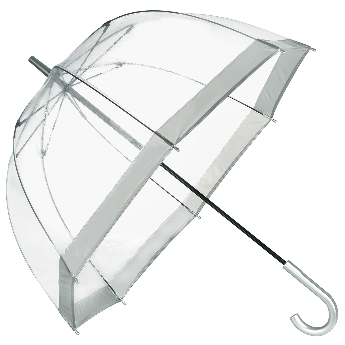 Зонт-трость женский Bird cage, механический, цвет: прозрачный, серебристый. L041 1F003REM12-CAM-GREENBLACKСтильный куполообразный зонт-трость Bird cage, защищающий голову и плечи, даже в ненастную погоду позволит вам оставаться элегантной. Каркас зонта выполнен из 8 спиц из фибергласса, стержень изготовлен из стали. Купол зонта выполнен из прозрачного ПВХ с серебристыми вставками по краям. Рукоятка закругленной формы, выполненная из пластик серебристого цвета, разработана с учетом требований эргономики. Зонт имеет механический тип сложения: купол открывается и закрывается вручную до характерного щелчка.Такой зонт не только надежно защитит вас от дождя, но и станет стильным аксессуаром. Характеристики:Материал: ПВХ, сталь, фибергласс, пластик. Диаметр купола: 89 см.Цвет: прозрачный, серебристый. Длина стержня зонта: 84 см. Длина зонта (в сложенном виде): 94 см. Количество спиц: 8 шт.Вес: 540 г.