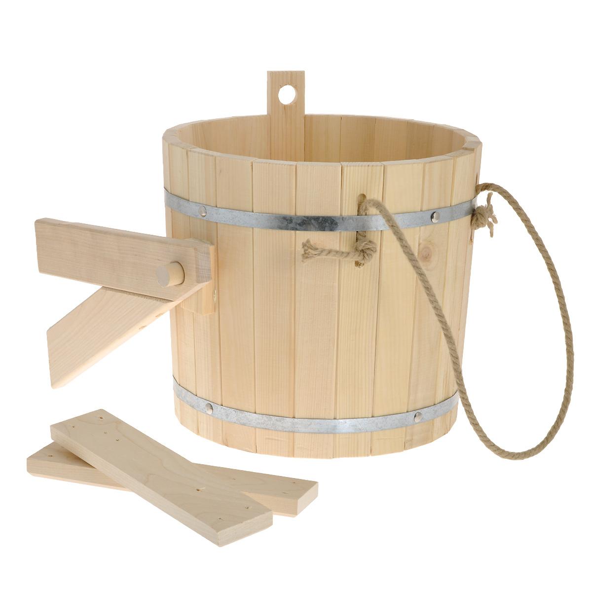 Обливное устройство Доктор баня, 16 л391602Обливное устройство Доктор баня состоит из деревянной емкости, двух кронштейнов и впускного клапана для воды. Обливное устройство изготовлено из деревянных шпунтованный клепок, склеенных между собой водостойким клеем и стянутых двумя обручами из нержавеющей стали. Внутри и снаружи устройство покрыто экологически безопасной мастикой на основе природного воска, который обеспечивает высокую степень защиты древесины от воздействия воды. Обливное устройство может монтироваться как к стенам, так и к потолку помещения. Обливное устройство предназначено для контрастного обливания после высоких температур парной в банях и саунах. Обливные устройства используются как внутри бани, так и снаружи. Рекомендуется периодически проверять прочность узловых соединений и надежность крепления к стене. Характеристики: Материал: дерево (кедр), металл, текстиль. Объем емкости: 16 л. Диаметр емкости: 34 см. Высота стенок емкости: 30 см.