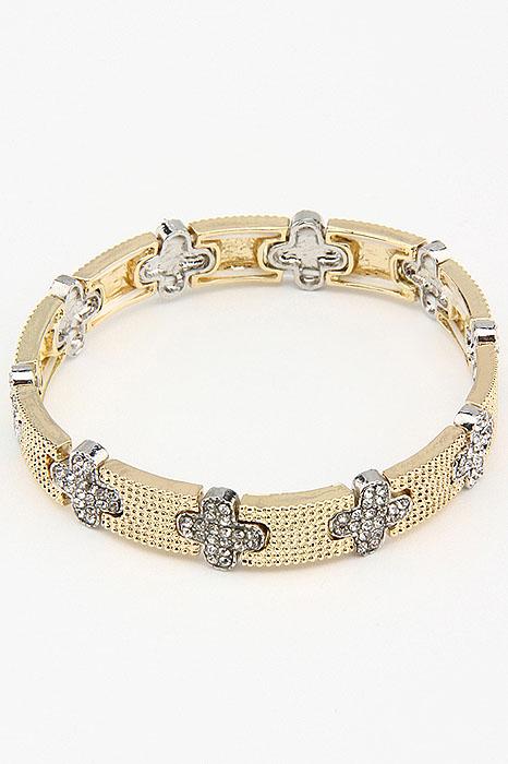 Браслет Fashion Jewelry, цвет: желтый, серебристый. BR0193Глидерный браслетБраслет Fashion Jewelry на резинке, выполненный из металла, украшен стразами. Такой браслет позволит вам быть оригинальной и изящной и создать свой неповторимый образ. Красивое и необычное украшение блестяще подчеркнет изысканный вкус, женственность и красоту своей обладательницы и поможет внести разнообразие в привычный образ.