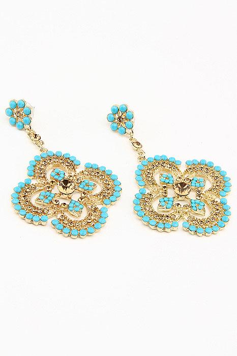 Серьги Fashion Jewelry, цвет: золотистый, голубой. ER010Пуссеты (гвоздики)Оригинальные серьги Fashion Jewelry, выполненные из металла с подвеской в виде цветочка, украшены цветными стразами. Такие серьги помогут создать вам свой неповторимый стиль. Серьги-подвески застегиваются на пластиковую застежку-гвоздик. Серьги Fashion Jewelry позволят вам с легкостью воплотить самую смелую фантазию и создать собственный, неповторимый образ.
