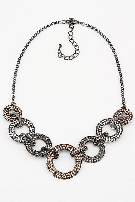 Колье Fashion Jewelry, цвет: черный, золотистый, серебристый. NK0055Колье (короткие одноярусные бусы)Оригинальное колье Fashion Jewelry представляют собой цепочку с декоративными элементами. Декоративные элементы выполненные из металла и украшенные стразами, скрепляются между собой. Колье имеет надежную застежку-карабин с регулирующей длину цепочкой. Колье Fashion Jewelry не только привлечет внимание окружающих, но и дополнит ваш образ и поможет создать свой неповторимый стиль. Характеристики:Длина колье: 45 см - 51 см.Максимальная диаметр декоративного элемента: 3,5 см.Минимальная диаметр декоративного элемента: 2 см