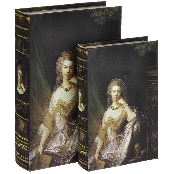 Набор шкатулок-фолиантов Портер леди, 2 шт. 184152612490Набор Портрет леди включает в себя две шкатулки разных размеров, выполненные в виде старых книг-фолиантов. Обложки шкатулок выполнены из текстиля со вставками из кожзаменителя и оформлены изображением благородной дамы. Такие шкатулки послужат оригинальным, а главное, практичным подарком, в котором замечательно сочетаются внешний вид и функциональность. Шкатулки, непременно, понравятся любителю изысканных вещей. В них можно хранить памятные вещи, документы или любые другие мелочи. Характеристики:Материал: МДФ, кожзаменитель, текстиль. Размер большой шкатулки: 33 см x 22,5 см x 7 см. Размер маленькой шкатулки: 26 см x 17 см x 5 см.