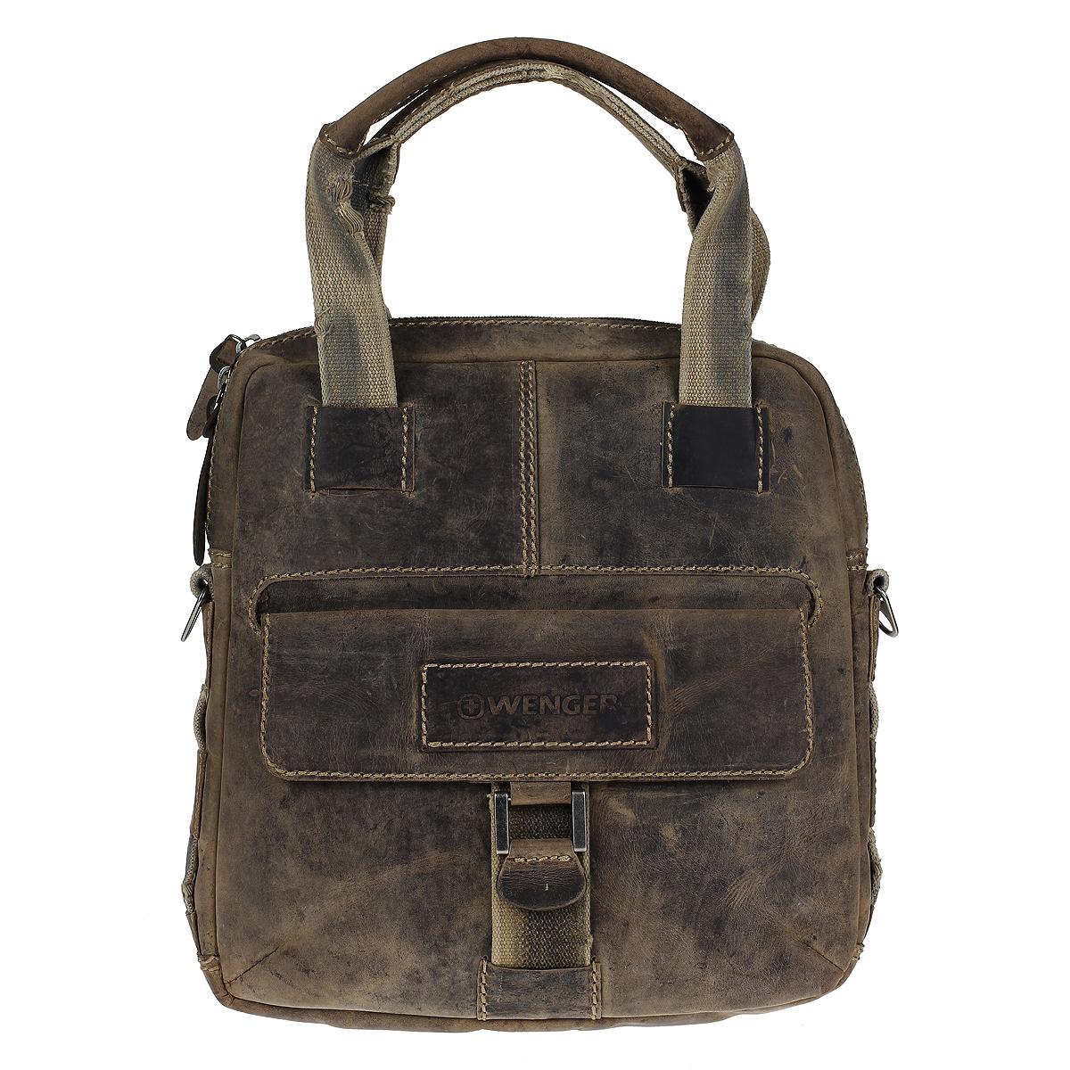 """Сумка мужская Wengler Arizona, цвет: светло-коричневый. W23-04BrBA7426Стильная, вместительная сумка Wenger """"Arizona"""" выполнена из коровьей кожи с потертостями, что делает ее уникальной. Сумка оформлена контрастной отстрочкой и отделкой из толстых текстильных ремней.Вертикальная сумка имеет одно отделение на металлической молнии с двумя бегунками. Внутри - вшитый карман на молнии, шесть отделений для карточек и визиток, два кармана для пишущих инструментов, карман для мобильного телефона и отделение для планшетного компьютера. На лицевой стороне расположен карман, закрывающийся клапаном на магнитную кнопку. На задней стенке - вшитый карман на молнии.Сумка оснащена двумя ручками, а также текстильным плечевым ремнем регулируемой длины. Стильная, практичная сумка в стиле кэжуал для современного мужчины. Кожаные сумки Wenger - модные, функциональные, высококачественные сумки с уникальным дизайном. Характеристики: Материал: натуральная коровья кожа, текстиль, металл. Цвет: светло-коричневый. Размер сумки: 33 см х 34 см х 12 см.Высота ручек: 22 см."""
