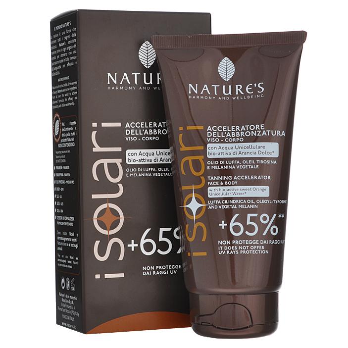 Natures Крем усилитель загара +65% iSolari, 150 мл2630Крем усилитель загара +65% Natures iSolari рекомендован для тех, кто хочет быстро получить красивый яркий бронзовый оттенок кожи, в том числе в солярии.Крем усиливает естественный процесс пигментации кожи более чем на 65%. Не содержит фактор защиты кожи. Поэтому может использоваться как самостоятельное средство для хорошо загорелой или смуглой, невосприимчивой к солнцу кожи, или как основа под солнцезащитный крем с подходящим уровнем защиты. С помощью этого крема можно подготовить светлую кожу к загару, начав применение за одну неделю до выхода на солнце.Активные компоненты:бурая водоросль, растительный меланин, масло Ши, абрикосовое молочко, сок дыни, масло кофе, миндальное масло, рисовое масло. Характеристики:Объем: 150 мл. Товар сертифицирован.