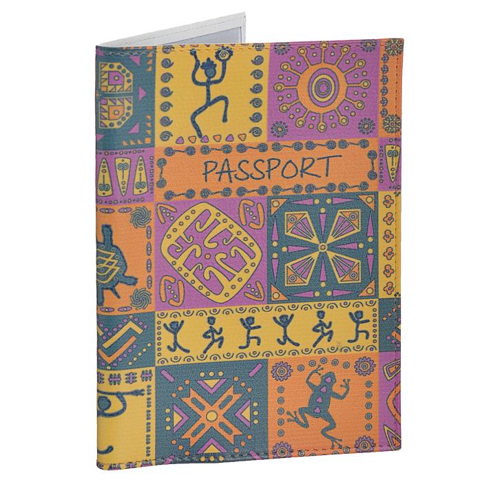 Обложка для паспорта Perfecto Африка. PS-PT-32OK302Обложка для паспорта Perfecto Африка изготовлена из натуральной кожи с ярким орнаментом в африканском стиле. Внутри содержится два кармашка из прозрачного ПВХ для паспорта. Обложка не только поможет сохранить внешний вид ваших документов и защитить их от повреждений, но и станет стильным аксессуаром, идеально подходящим вашему образу. Обложка для паспорта стильного дизайна может быть достойным и оригинальным подарком. Характеристики:Материал: натуральная кожа, ПВХ. Цвет: желтый, фиолетовый. Размер обложки: 9,5 см х 13,7 см.