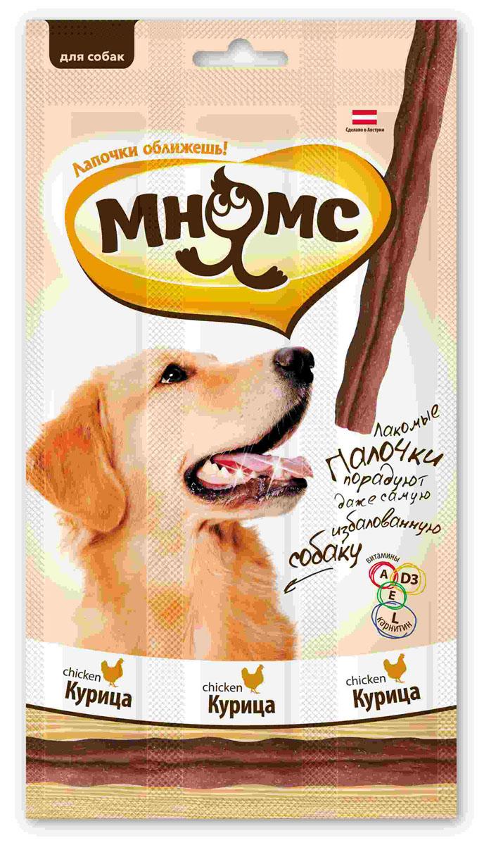 Лакомые палочки для собак Мнямс, с курицей, 3х15 г0120710Лакомые палочки с курицей Мнямс - это вкусное и здоровое угощение для собак с большим содержанием мяса, которое придется по вкусу даже самому капризному любимцу. Палочки легко ломаются, идеально подходят в качестве поощрения для игр и тренировок. Норма употребления: давать в виде дополнения к основному питанию. Собаки мелких пород: 1-2 палочки в день. Собаки средних и крупных пород: 3-4 палочки в день (в зависимости от размера и активности собаки). Свежая вода должна быть всегда доступна вашему питомцу.Без искусственных ароматизаторов и красителей. Состав: мясо и продукты животного происхождения (90%, из них 17% курица), производные растительного происхождения, минералы, витамин А 5000 ME/кг, витамин D3 500 ME/кг, L-карнитин 1000 мг/кг, витамин Е 50 мг/кг, антиоксиданты, консерванты. Белок 30%, жир 23%, клетчатка 3%, зола 7,5%.Товар сертифицирован.