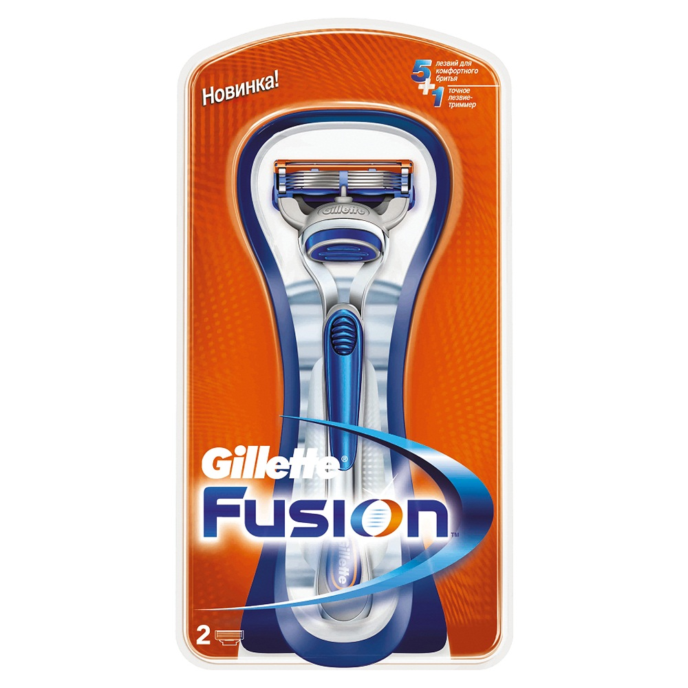 Бритва Gillette Fusion, 2 сменные кассеты15032030Gillette - лучше для мужчины нет!Технология 5-лезвийной бреющей поверхности: 5 лезвий PowerGlide, расположенных ближе друг к другу, позволяют снизить давление на кожу для уменьшения раздражения и большего комфорта чем у Mach3. 15 специальных микро гребней Fusion помогают разглаживать неровную поверхность кожи, позволяя 5 лезвиям скользить максимально гладко. Увлажняющая полоска теряет цвет, сигнализируя о необходимости сменить лезвие. - Комфорт пяти лезвий + точность одного лезвия-триммера. - Технология из 5 лезвий обеспечивает меньшее давление на кожу по сравнению с бритвами Mach 3. - Улучшенная увлажняющая полоска обеспечивает еще более плавное скольжение картриджа по поверхности кожи по сравнению с бритвами Mach 3. - Лезвие-триммер оптимизирует бритье на сложных участках, таких как виски, область под носом и шея.Характеристики:Длина станка: 13,5 см. Длина лезвия: 4 см. Комплектация: бритвенный станок, 2 сменные кассеты, держатель. Товар сертифицирован.Состав смазывающей полоски: PEG-115M, PEG-7M, PEG-100, TOCOPHERYL ACETATE, BHT, ALOE BARBADENSIS.