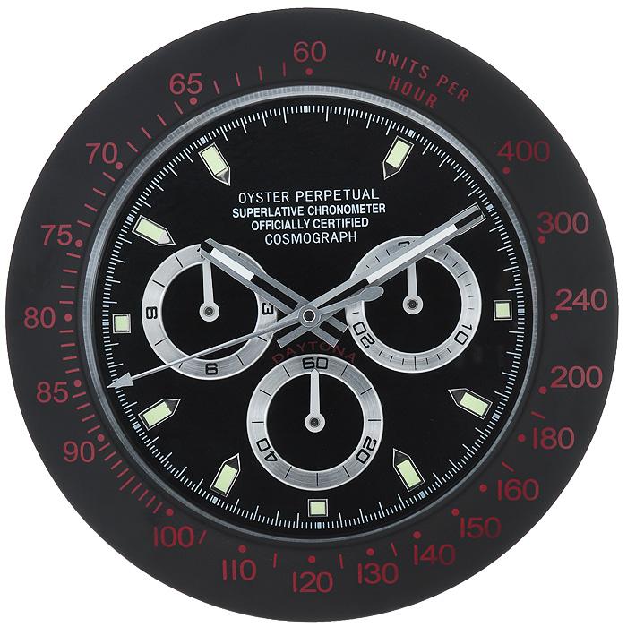 Часы настенные Командирские, цвет: черный. 9549722409Оригинальные настенные часы Командирские - это увеличенная копия знаменитых наручных командирских часов. Изделие выполнено из исключительно качественных материалов. Корпус изготовлен из коррозионностойкой нержавеющей стали черного цвета. Циферблат из матового пластика черного цвета защищен плотным стеклом. Часы имеют три стрелки: часовую, минутную и секундную. На стрелки и часовые метки нанесено фосфоресцирующее покрытие, которое создает подсветку в темное время суток. Механизм часов - кварцевый. С задней стороны часов имеется отверстие для подвешивания на стену. Настенные командирские часы - отличный подарок для мужчины, ценящего время и высокое качество жизни. Характеристики:Материал: пластик, коррозионностойкая сталь, стекло. Диаметр корпуса: 33,5 см. Толщина корпуса: 4 см. Диаметр циферблата: 25 см. Цвет: черный. Необходимо докупить одна батарейку типа АА (в комплект не входит).