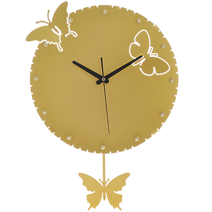 Часы настенные Бабочки, с маятником, цвет: золотистый. 95181652519Изящные настенные часы Бабочки эффектно украсят интерьер помещения. Дизайн, полный хрупкого изящества, в этих часах удачно сочетается с высокой прочностью материалов. Корпус, оформленный изящной перфорацией, выполнен из коррозионностойкой стали с порошковым напылением золотистого цвета. Несмотря на устойчивый к механическим воздействиям корпус, часы выглядят ажурными, словно вырезанными из бумаги. Часы имеют три стрелки: часовую, минутную и секундную. Постоянное движение маятника с фигуркой бабочки придает иллюзию постоянного трепета. Механизм часов - кварцевый. С задней стороны корпуса имеется отверстие для подвешивания на стену. Красивые и качественные настенные часы украсят современный интерьер и порадуют надежной работой. Характеристики:Материал: коррозионностойкая сталь, пластик. Диметр корпуса: 35 см. Толщина корпуса: 2 мм. Цвет: золотистый. Размер фигурки бабочки: 12,5 см х 9,5 см. Необходимо докупить 2 батарейки типа АА (в комплект не входят).