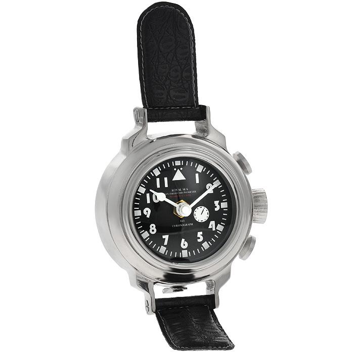 Часы настольные Win Max. 35824300074_ежевикаОригинальные настольные часы Win Max имеют кварцевый механизм. Круглый корпус выполнен из металла серебристого цвета. Часы имеют форму наручных часов с ремешками из кожзама с тиснением. Циферблат часов черного цвета оснащен двумя белыми стрелками - часовой и минутной. Такие настольные часы станут оригинальным украшением рабочего стола или интерьера вашего кабинета. Характеристики: Материал: металл (алюминий), кожзам, стекло. Диаметр корпуса: 10,5 см. Общая высота часов: 19 см. Диаметр циферблата: 7 см.