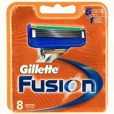 Gillette Сменные кассеты для бритья Fusion, 8 шт1301210Gillette - лучше для мужчины нет!Технология 5-лезвийной бреющей поверхности: 5 лезвий PowerGlide, расположенных ближе друг к другу, позволяют снизить давление на кожу для уменьшения раздражения и большего комфорта, чем у Mach3. Микроимпульсы снижают трение и обеспечивают более гладкое скольжение бритвы.15 специальных микро-гребней Fusion помогают разглаживать неровную поверхность кожи, позволяя 5 лезвиям скользить максимально гладко. Увлажняющая полоска теряет цвет, сигнализируя о необходимости сменить лезвие.- При покупке упаковки сменных кассет Fusion или Fusion Power из 8 шт. вы экономите до 20% по сравнению с покупкой четырех упаковок из 2 шт. (на основании отпускной цены Procter&Gamble).- Технология из 5 лезвий обеспечивает меньшее давление на кожу по сравнению с бритвами Mach 3.- Улучшенная увлажняющая полоска обеспечивает еще более плавное скольжение картриджа по поверхности кожи по сравнению с бритвами Mach 3.- Лезвие-триммер оптимизирует бритье на сложных участках, таких как виски, область под носом и шея. Товар сертифицирован.