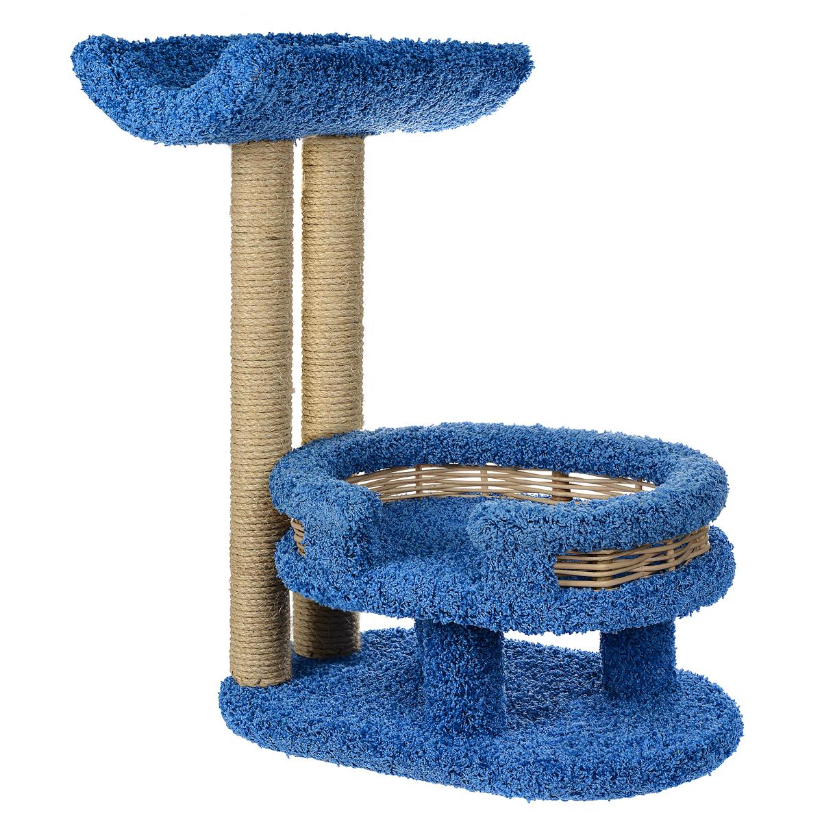 Когтеточка Лежанка с седлом, цвет: синий, 45 см х 60 см х 80 см81101Когтеточка Лежанка с седлом отлично подойдет для котят и взрослых кошек средних размеров. Когтеточка станет не только идеальным местом для подвижных игр вашего любимца, но и местом для отдыха. Благодаря столбикам - когтеточкам, обернутым веревками из сизаля, ваша кошка удовлетворит природную потребность точить когти, что поможет сохранить вашу мебель и ковры. Для приучения любимца к когтеточке можно натереть ее сухой валерьянкой или кошачьей мятой. Оригинальный дизайнлежанки с плетеными бортиками позволит гармонично вписаться когтеточке в интерьер вашей квартиры.