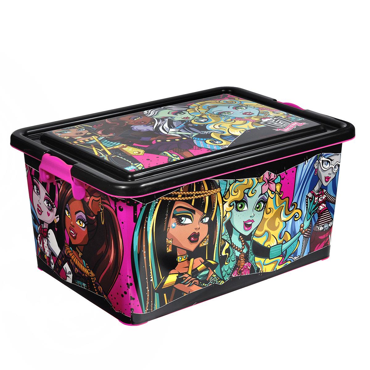 Monster High Коробка для хранения 23 лR1001YКоробка для хранения Monster High выполнена из пластика, очень удобная и практичная вещь для любой детской комнаты. В нее поместятся многие игрушки вашего ребенка. С ее помощью можно легко научить ребенка наводить порядок самостоятельно. Яркая расцветка и веселый дизайн ящика станет замечательным украшением детской комнаты. Характеристики:Материал: пластик. Цвет: черный, розовый. Объем: 23 л. Размер коробка: 45 см х 31 см х 22 см. Производитель: Испания.