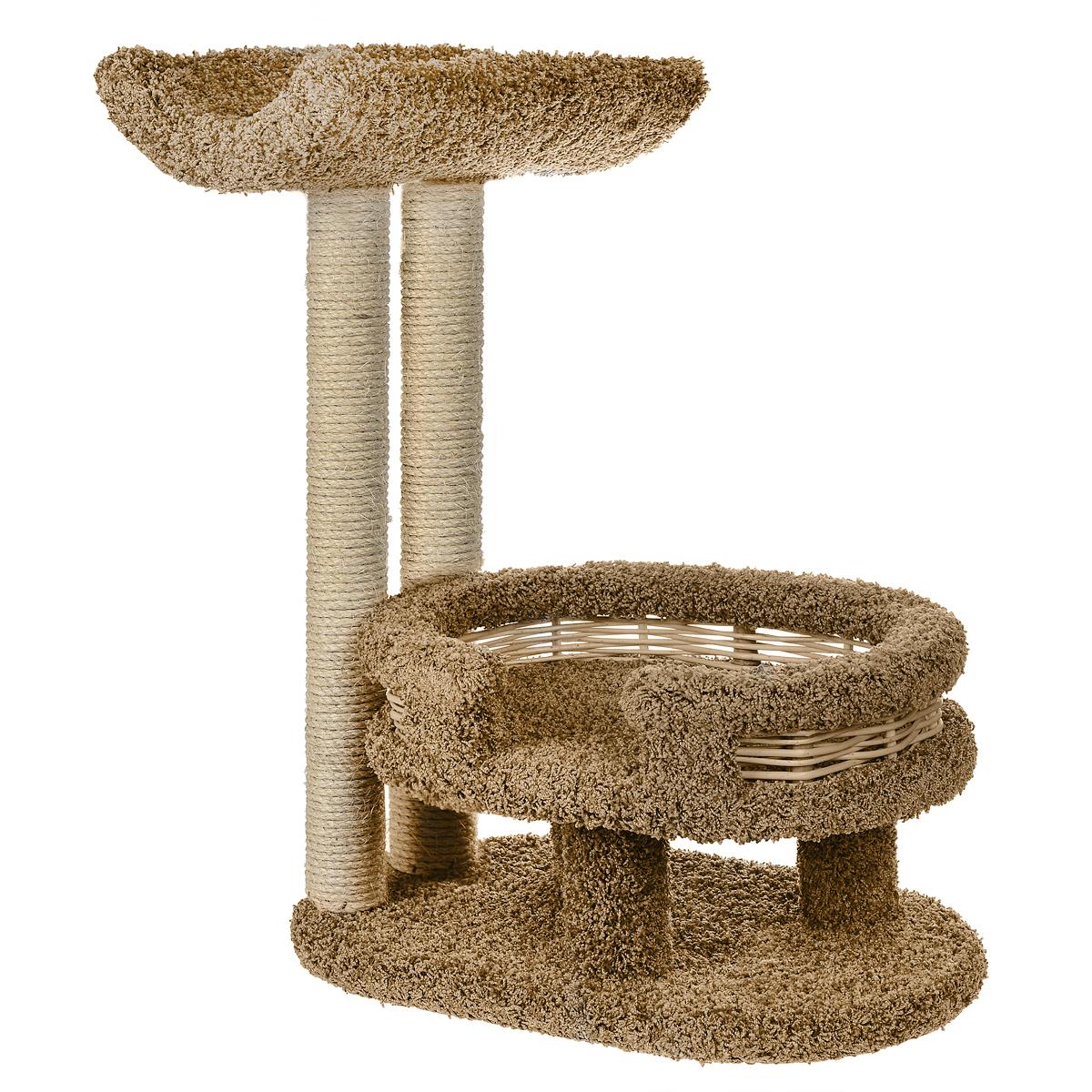 Когтеточка Лежанка с седлом, цвет: бежевый, 45 см х 60 см х 80 смП300446Когтеточка Лежанка с седлом отлично подойдет для котят и взрослых кошек средних размеров. Когтеточка станет не только идеальным местом для подвижных игр вашего любимца, но и местом для отдыха. Благодаря столбикам - когтеточкам, обернутым веревками из сизаля, ваша кошка удовлетворит природную потребность точить когти, что поможет сохранить вашу мебель и ковры. Для приучения любимца к когтеточке можно натереть ее сухой валерьянкой или кошачьей мятой. Оригинальный дизайнлежанки с плетеными бортиками позволит гармонично вписаться когтеточке в интерьер вашей квартиры.