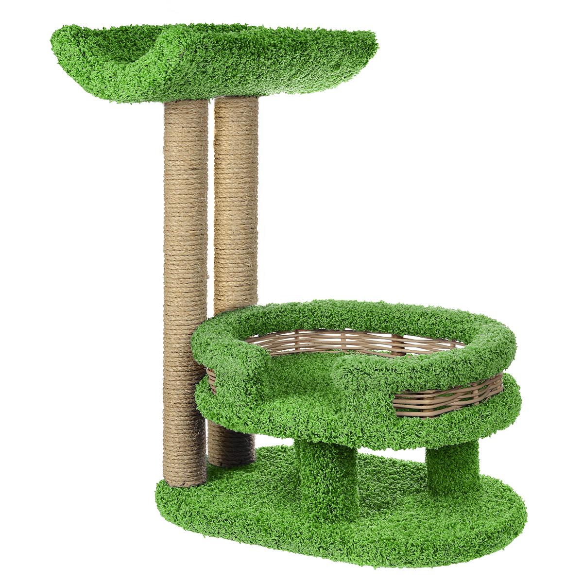 Когтеточка Лежанка с седлом, цвет: зеленый, 45 см х 60 см х 80 см0120710Когтеточка Лежанка с седлом отлично подойдет для котят и взрослых кошек средних размеров. Когтеточка станет не только идеальным местом для подвижных игр вашего любимца, но и местом для отдыха. Благодаря столбикам - когтеточкам, обернутым веревками из сизаля, ваша кошка удовлетворит природную потребность точить когти, что поможет сохранить вашу мебель и ковры. Для приучения любимца к когтеточке можно натереть ее сухой валерьянкой или кошачьей мятой. Оригинальный дизайнлежанки с плетеными бортиками позволит гармонично вписаться когтеточке в интерьер вашей квартиры.