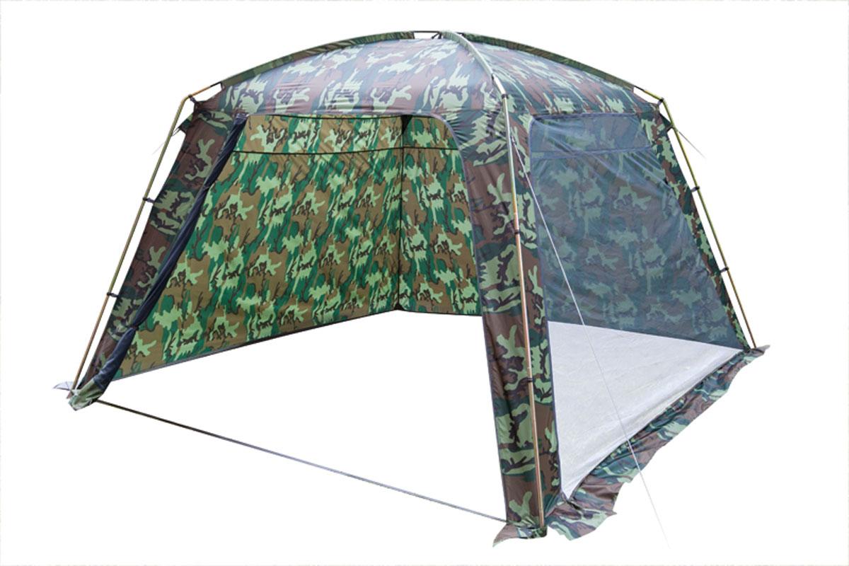 Шатер-тент TREK PLANET RAIN DOME CAMO, 320 см х 320 см х 210 см, цвет: камуфляж70254Универсальный камуфляжный шатер TREK PLANET Rain Dome Camo отлично подойдет для дачи, в качестве полевого навеса или для стационарного кемпинга. Две стороны из полиэстера надежно защищают от ветра и дождя, две другие стороны из москитной сетки позволяют шатру отлично проветриваться. Благодаря камуфляжной расцветке, не привлекает лишнего внимания на природе.Особенности шатра:- легко собирается и разбирается;- устойчив на ветру;- две стороны шатра из полиэстера, с пропиткой PU водостойкостью 2000 мм надежно защищают от ветра и дождя;- две другие стороны из москитной сетки позволяют шатру отлично проветриваться, защищая от насекомых;- все швы проклеены;- двери из москитной сетки в полный размер стороны с молнией по периметру, удобно сворачиваются на сторону;- каркас: боковые стойки из стали, потолочные дуги из прочного стеклопластика;- прочные и удобные адаптеры для дуг со стойками;- два входа в шатер;- защитный полог по всему периметру защищает от ветра, дождя и насекомых;- возможность подвески фонаря в палатке;- внутренние карманы для мелочей.Палатка упакована в сумку-чехол с ручками, застегивающуюся на застежку-молнию.