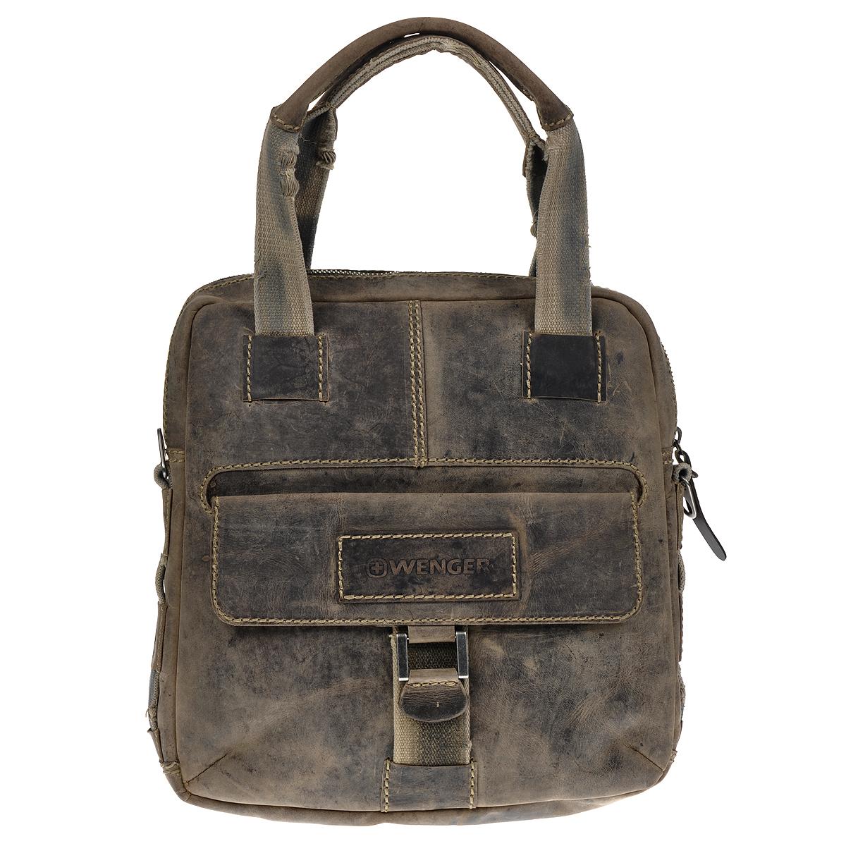 """Сумка мужская Wenger Stonehide, цвет: светло-коричневый. W16-05A-B86-05-CСтильная, вместительная сумка Wenger """"Stonehide"""" выполнена из крепкой эластичной бычьей кожи, обработанной по традиционной технологии - грубые швы, состаренные ремни.Вертикальная сумка имеет одно отделение на металлической молнии с двумя бегунками. Внутри - вшитый карман на молнии, шесть отделений для карточек и визиток, два кармана для пишущих инструментов, карман для мобильного телефона и отделение для планшетного компьютера. На лицевой стороне расположен карман, закрывающийся клапаном на магнитную кнопку. На задней стенке - вшитый карман на молнии.Сумка оснащена двумя ручками, а также текстильным плечевым ремнем регулируемой длины. Стильная, практичная сумка в стиле кэжуал для современного мужчины. Кожаные сумки Wenger - модные, функциональные, высококачественные сумки с уникальным дизайном.По всем вопросам гарантийного и постгарантийного обслуживания рюкзаков, чемоданов, спортивных и кожаных сумок, а также портмоне марок Wenger и SwissGear вы можете обратиться в сервис-центр, расположенный по адресу: г. Москва, Саввинская набережная, д.3. Тел: (495) 788-39-96, (499) 248-56-56, ежедневно с 9:00 до 21:00. Подробные условия гарантийного обслуживания приведены в гарантийном талоне, поставляемым в комплекте с каждым изделием. Бесплатный ремонт изделий производится при условии предоставления гарантийного талона и товарного/кассового чека, подтверждающего дату покупки. Характеристики: Материал: натуральная коровья кожа, текстиль, металл. Цвет: светло-коричневый. Размер сумки: 33 см х 34 см х 12 см.Высота ручек: 22 см."""