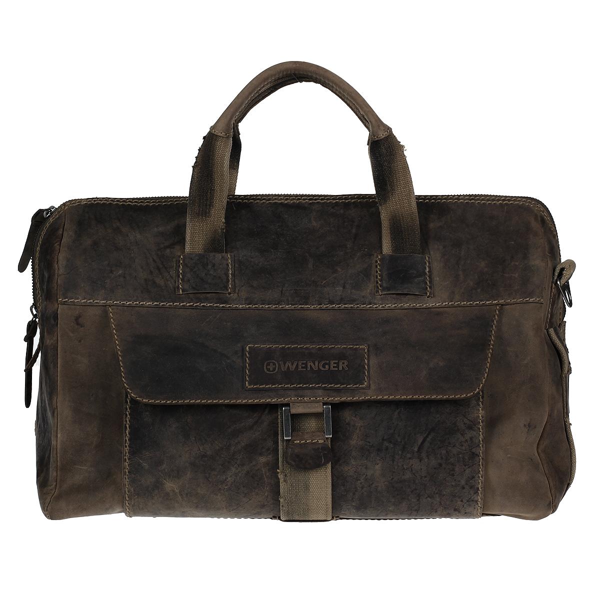 Сумка дорожная мужская Wenger Stonehide, цвет: светло-коричневый. W16-09W16-09Мужская дорожная сумка в стиле casual Wenger Stonehide изготовлена из высококачественной натуральной кожи светло-коричневого цвета. Кожа серии Stonehide - это крепкая, эластичная бычья кожа, обработанная по традиционной технологии - грубые швы, состаренные ремни. Потертый внешний вид делает изделие уникальным и создает специфический эффект старины. Сумка по всей поверхности оформлена стежками бежевого цвета. Сумка имеет одно основное отделение, которое закрывается на застежку-молнию. Внутри содержится два накладных кармашка, два держателя для ручек, вшитый карман на молнии и 6 кармашков для пластиковых карт или визиток. Внутренняя поверхность отделана полиэстером коричневого цвета. С лицевой стороны сумки расположено отделение для планшета, закрывающееся клапаном на магнитную кнопку. С задней стороны сумки расположено дополнительное отделение на молнии. Изделие оснащено двумя удобными короткими ручками и отстегивающимся плечевым ремнем регулируемой длины из плотного полиэстера. Ремень снабжен вставкой для удобной переноски на плече. Дорожная сумка подчеркнет ваш современный взгляд на собственный стиль в пути. Изделия Wenger привлекают внимание модников со всех уголков мира. Изделия Wenger - это мода, которая не подвластна течению времени. Изысканная грациозность, непревзойденное чувство стиля и эстетика - все это главные черты изделий Wenger. Если вы собираетесь в путешествие, то вам идеально подойдут дорожные сумки Wenger. Потрясающий стиль для мужчин с высокими требованиями.По всем вопросам гарантийного и постгарантийного обслуживания рюкзаков, чемоданов, спортивных и кожаных сумок, а также портмоне марок Wenger и SwissGear вы можете обратиться в сервис-центр, расположенный по адресу: г. Москва, Саввинская набережная, д.3. Тел: (495) 788-39-96, (499) 248-56-56, ежедневно с 9:00 до 21:00. Подробные условия гарантийного обслуживания приведены в гарантийном талоне, поставляемым в комплекте 