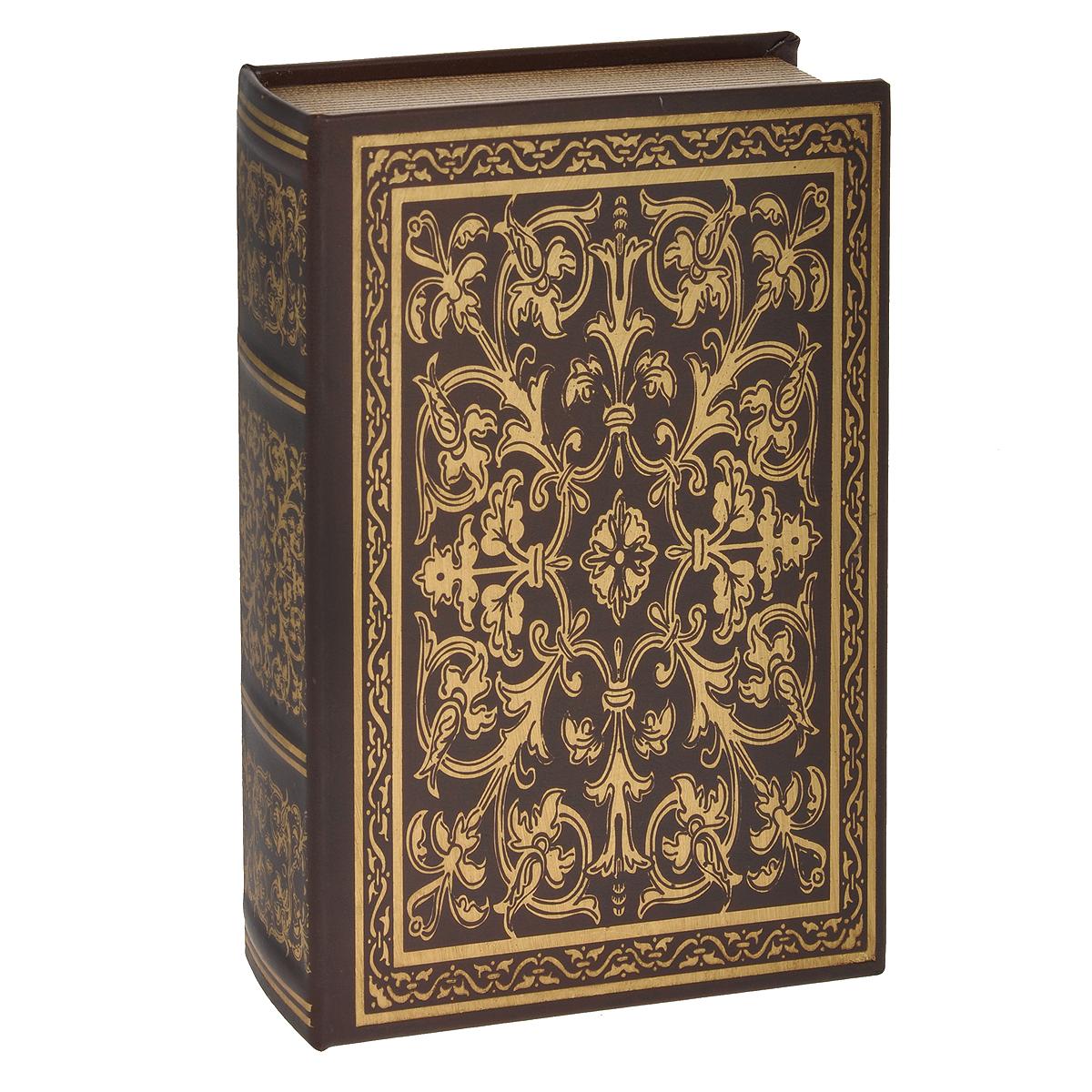 Шкатулка-фолиант Книга Соломона, цвет: коричневый, 21 см х 12 см х 4,5 см. 18415939841Шкатулка-фолиант Книга Соломона выполнена в виде старинной книги. Оригинальное оформление шкатулки, несомненно, привлечет к себе внимание. Поверхность шкатулки-фолианта выполнена из кожзаменителя и оформлена золотистым тиснением. Внутри шкатулка отделана кожзаменителем. Такая шкатулка может использоваться для хранения бижутерии, в качестве украшения интерьера, а также послужит хорошим подарком для человека, ценящего практичные и оригинальные вещицы. Характеристики:Материал: кожзаменитель, МДФ. Размер шкатулки: 21 см х 12 см х 4,5 см.Цвет: коричневый.