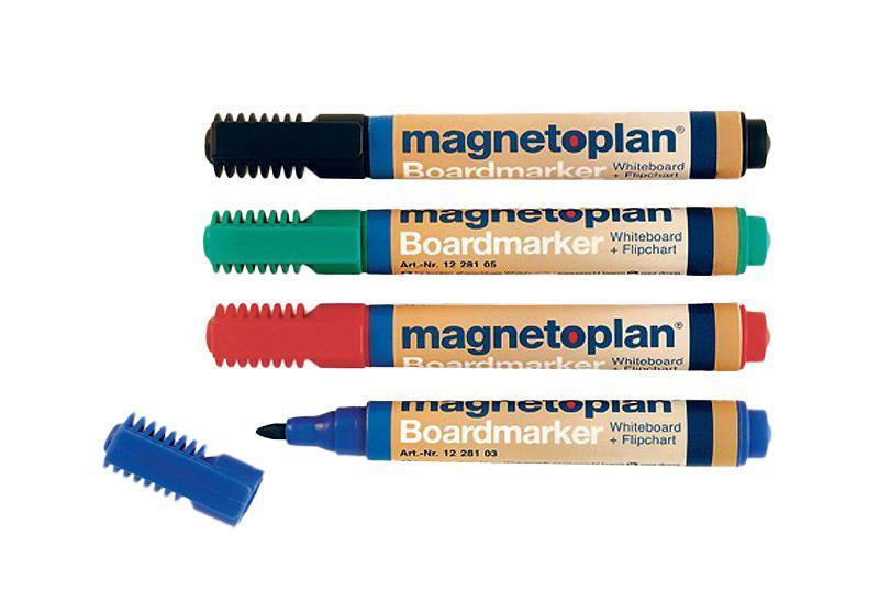 Набор маркеров Magnetoplan, 4 цвета. 1228172523WDНабор маркеров Magnetoplan станет вашим незаменимым помощником при проведении презентаций. Набор маркеров Magnetoplan предназначен для письма и рисования как на бумаге для флипчарта, так и на белой доске с лаковым покрытием в школе или офисе. Набор включает в себя четыре маркера зеленого, черного, красного и синего цветов. Корпус маркеров выполнен из пластика. Влагоустойчивые чернила на спиртовой основе быстро сохнут и не размазываются. Круглый наконечник дает аккуратную четкую линию. C набором маркеров Magnetoplan ваши презентации всегда будут безупречны.