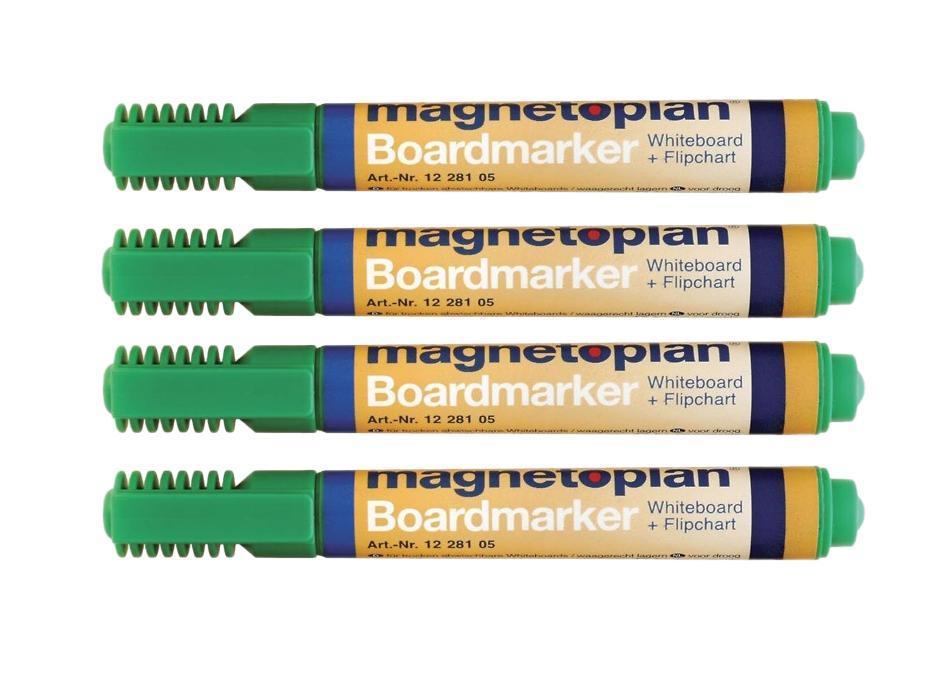 Набор маркеров Magnetoplan, цвет: зеленый, 4 шт. 1228105FS-36052Набор маркеров Magnetoplan станет вашим незаменимым помощником при проведении презентаций. Набор зеленых маркеров Magnetoplan предназначен для письма и рисования как на бумаге для флипчарта, так и на белой доске с лаковым покрытием в школе или офисе. Набор включает в себя четыре маркера зеленого цвета. Корпус маркеров выполнен из пластика. Влагоустойчивые чернила на спиртовой основе быстро сохнут и не размазываются. Круглый наконечник дает аккуратную четкую линию. C набором маркеров Magnetoplan ваши презентации всегда будут безупречны.
