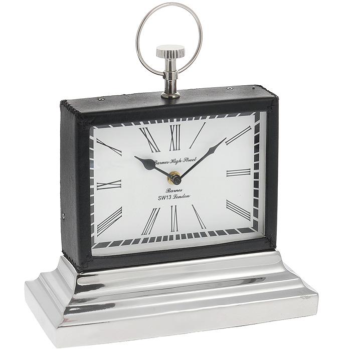 Часы настольные Win Max. 35818300074_ежевикаОригинальные настольные часы Win Max оснащены кварцевым механизмом. Часы имеют прямоугольный корпус, обтянутый кожзамом черного цвета. Циферблат часов белого цвета оснащен двумя стрелками - часовой и минутной; имеет индикацию римскими цифрами. Основание часов изготовлено из пластика серебристого цвета.Такие настольные часы станут оригинальным украшением рабочего стола или интерьера вашего кабинета. Характеристики: Материал: пластик, кожзам, стекло, металл (железо). Размер корпуса (ДхШхВ): 21 см х 5,5 см х 15,5 см. Размер основания: 27 см х 12 см. Размер циферблата: 18 см х 13 см.