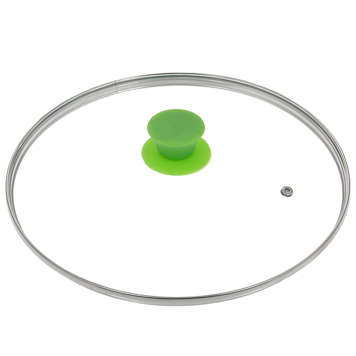 Крышка стеклянная Jarko Silk, цвет: зеленый. Диаметр 28 см54 009312Крышка Jarko Silk, изготовленная из термостойкого стекла, позволяет контролировать процесс приготовления пищи без потери тепла. Ободок из нержавеющей стали предотвращает сколы на стекле. Крышка оснащена отверстием для паровыпуска. Эргономичная силиконовая ручка не скользит в руках и не нагревается в процессе приготовления пищи.
