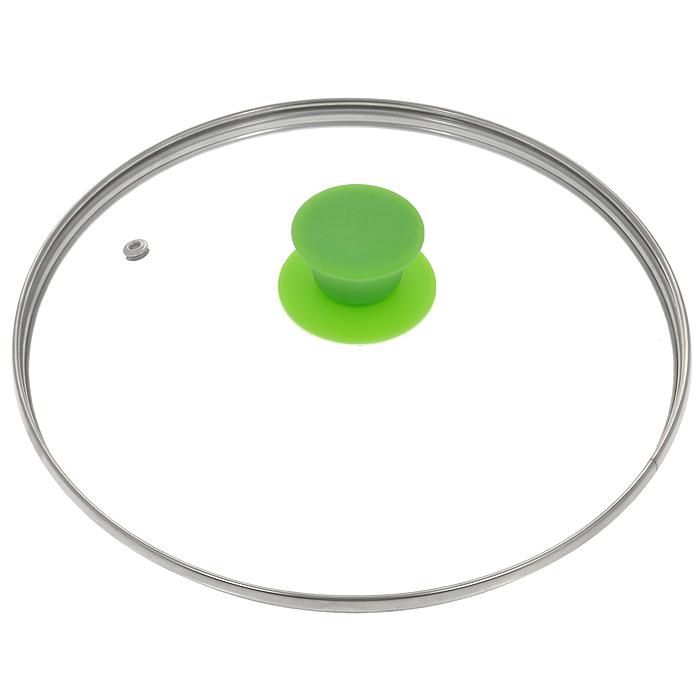 Крышка стеклянная Jarko Silk, цвет: зеленый. Диаметр 24 смFS-91909Крышка Jarko Silk, изготовленная из термостойкого стекла, позволяет контролировать процесс приготовления без потери тепла. Ободок из нержавеющей стали предотвращает сколы на стекле. Крышка оснащена отверстием для выпуска пара. Эргономичная силиконовая ручка не скользит в руках и не нагревается в процессе приготовления пищи.