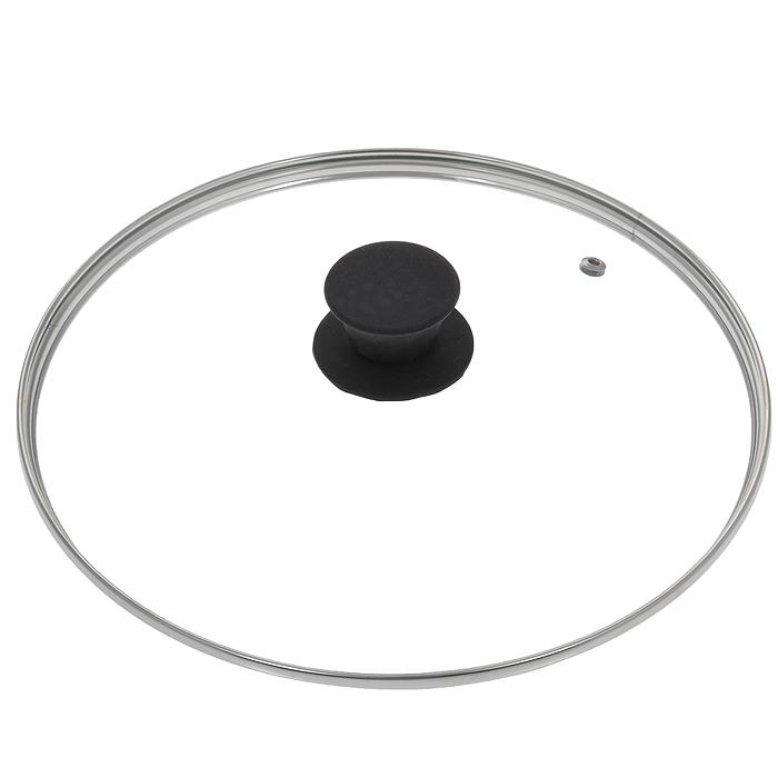 Крышка стеклянная Jarko Silk, цвет: черный. Диаметр 26 см68/5/2Крышка Jarko Silk, изготовленная из термостойкого стекла, позволяет контролировать процесс приготовления пищи без потери тепла. Ободок из нержавеющей стали предотвращает сколы на стекле. Крышка оснащена пароотводом. Эргономичная силиконовая ручка не скользит в руках и не нагревается в процессе приготовления пищи.