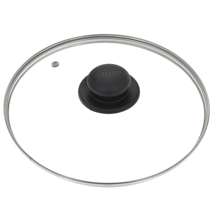 Крышка стеклянная Jarko. Диаметр 26 см391602Крышка Jarko, изготовленная из термостойкого стекла, позволяет контролировать процесс приготовления без потери тепла. Ободок из нержавеющей стали предотвращает сколы на стекле. Крышка оснащена отверстием для паровыпуска. Ненагревающаяся ручка выполнена из бакелита. Характеристики:Материал: стекло, нержавеющая сталь, бакелит. Диаметр крышки: 26 см.