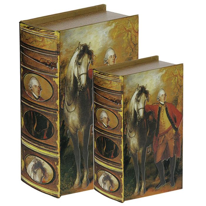 Набор шкатулок-фолиантов Томас Гейнсборо Портрет лорда Лигонье, 2 шт. 184153RG-D31SНабор Томас Гейнсборо Портрет лорда Лигонье включает в себя две шкатулки разных размеров, выполненные в виде старых книг-фолиантов. Обложки шкатулок выполнены из текстиля со вставками из кожзаменителя и оформлены фрагментом картины Портрет лорда Лигонье художника Томаса Гейнсборо. Такие шкатулки послужат оригинальным, а главное, практичным подарком, в котором замечательно сочетаются внешний вид и функциональность. Шкатулки, непременно, понравятся любителю изысканных вещей. В них можно хранить памятные вещи, документы или любые другие мелочи. Характеристики:Материал: МДФ, кожзаменитель, текстиль. Размер большой шкатулки: 22 см x 16 см x 7 см. Размер маленькой шкатулки: 17 см x 11 см x 5 см.