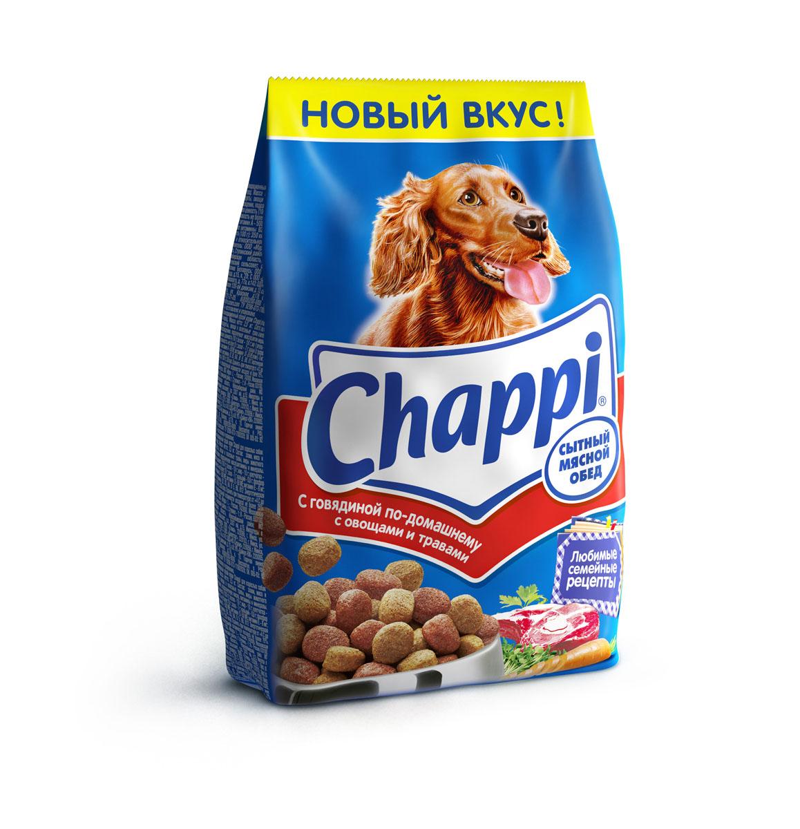 Корм сухой для собак Chappi Сытный мясной обед, с говядиной по-домашнему с овощами и травами, 600 г0120710Сухой корм Chappi Сытный мясной обед - это специально разработанная еда для собак с оптимально сбалансированным содержанием белков, витаминов и микроэлементов.Уникальная формула Chappi включает в себя все необходимые для здоровья компоненты: - мясо - для силы и энергии в течение дня; - овощи, травы и злаки - для отличного пищеварения; - масла и жиры - для блестящей шерсти и здоровой кожи; - кальций - для крепких зубов и костей; - витамины - для защиты здоровья; - минералы - для подержания собаки в оптимальной форме.Корм Chappi идеально подходит для вашего любимца как надежный источник жизненных сил. Состав: злаки, мясо и субпродукты, жиры животного происхождения, морковь, люцерна, растительные масла, минеральные вещества, витамины.Пищевая ценность в 100 г: белок - 18 г, жиры - 10 г, клетчатка - 7 г, влажность - не более 10 г, зола - 7 г, кальций - 0,8 г, фосфор - 0,6 г, витамин А - 500 МЕ, витамин D - 50 МЕ, витамин Е - 8 мг, витамины В2, В12, пантотеновая и никотиновая кислоты.Энергетическая ценность в 100 г: 350 ккал.Вес: 600 г.Товар сертифицирован.