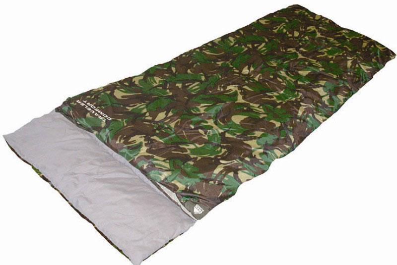 Спальный мешок TREK PLANET Traveller Comfort XL, цвет: камуфляж, правосторонняя молнияKOC2028LEDКомфортный и удобный в использовании спальник-одеяло с подголовником TREK PLANET Traveller Comfortпредназначен для походов преимущественно в летний период. Идеально подойдет для людей, любящих походы, рыбалку, охоту или просто качественные камуфляжные вещи в цветах британского DPM.Основное достоинство этого спальника - его огромный размер - метр в ширину. Поэтому этот спальный мешок популярен среди больших людей, выбирающихся на пикник, на дачу, в туристический поход или на рыбалку. Можно также использовать как огромное одеяло.ОСОБЕННОСТИ СПАЛЬНИКА:- Двухсторонняя молния.- Термоклапан вдоль молнии.- Внутренний карман.- Огромный размер.- Состегивание двух спальников модели невозможно.К спальнику прилагается чехол для удобного хранения и переноски. Характеристики: Цвет: камуфляж.Температура комфорта: +10°C.Температура лимит комфорта: +6°C.Температура экстрима: -5°C.Внешний материал: 100% полиэстер.Внутренний материал: 100% полиэстер.Утеплитель: Hollow Fiber 1x300 г/м2.Размер: (200+30) см х 100 см.Размер в чехле: 25 см х 25 см х 49 см.Вес: 1,7 кг.Производитель: Китай. Артикул: 70382.
