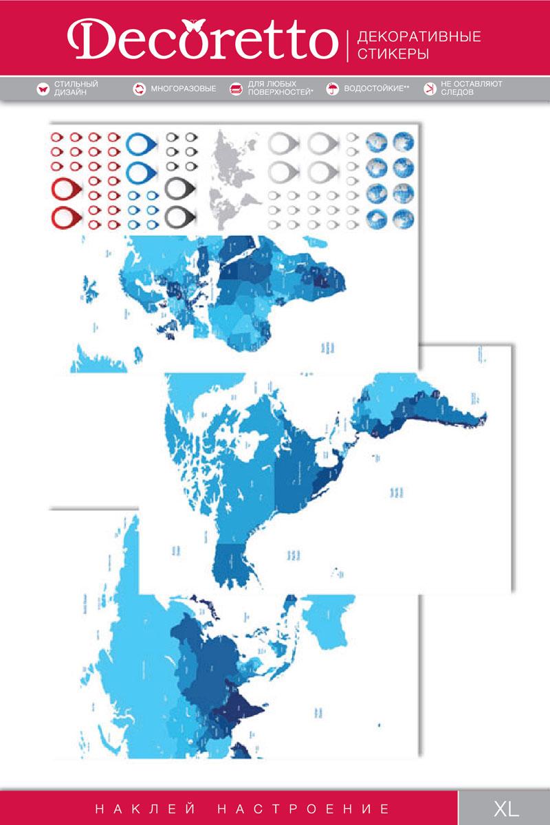 Украшение для стен и предметов интерьера Decoretto Синяя карта300129Украшение для стен и предметов интерьера Decoretto Синяя карта - это удивительно простой и быстрый способ оживить интерьер помещения. Интерьерные наклейки дадут вам вдохновение, которое изменит вашу жизнь и поможет погрузиться в мир ярких красок, фантазий и творчества. Украшение состоит из 3 основных, которые составляют общую карту, и 67 дополнительных самоклеющихся элементов. Преимущества украшений Decoretto: - изготовлены из экологически безопасной самоклеющейся виниловой пленки с водоотталкивающей поверхностью, абсолютно безопасны для здоровья детей; - быстро и легко наклеиваются на любые ровные поверхности: стены, окна, двери, кафельную плитку, виниловые и флизелиновые обои, стекла, мебель; - при необходимости удобно снимаются, не оставляют следов и не повреждают поверхность (кроме бумажных обоев); - многоразовые - если вы решите изменить композицию, то просто снимите наклейки и наклейте их в другом месте; - специальный слой защищает поверхность от влаги и выгорания.Decoretto поможет изменить интерьер вокруг себя: в детской комнате и гостиной, на кухне и в прихожей, витрину кафе и магазина, детский садик и офис.