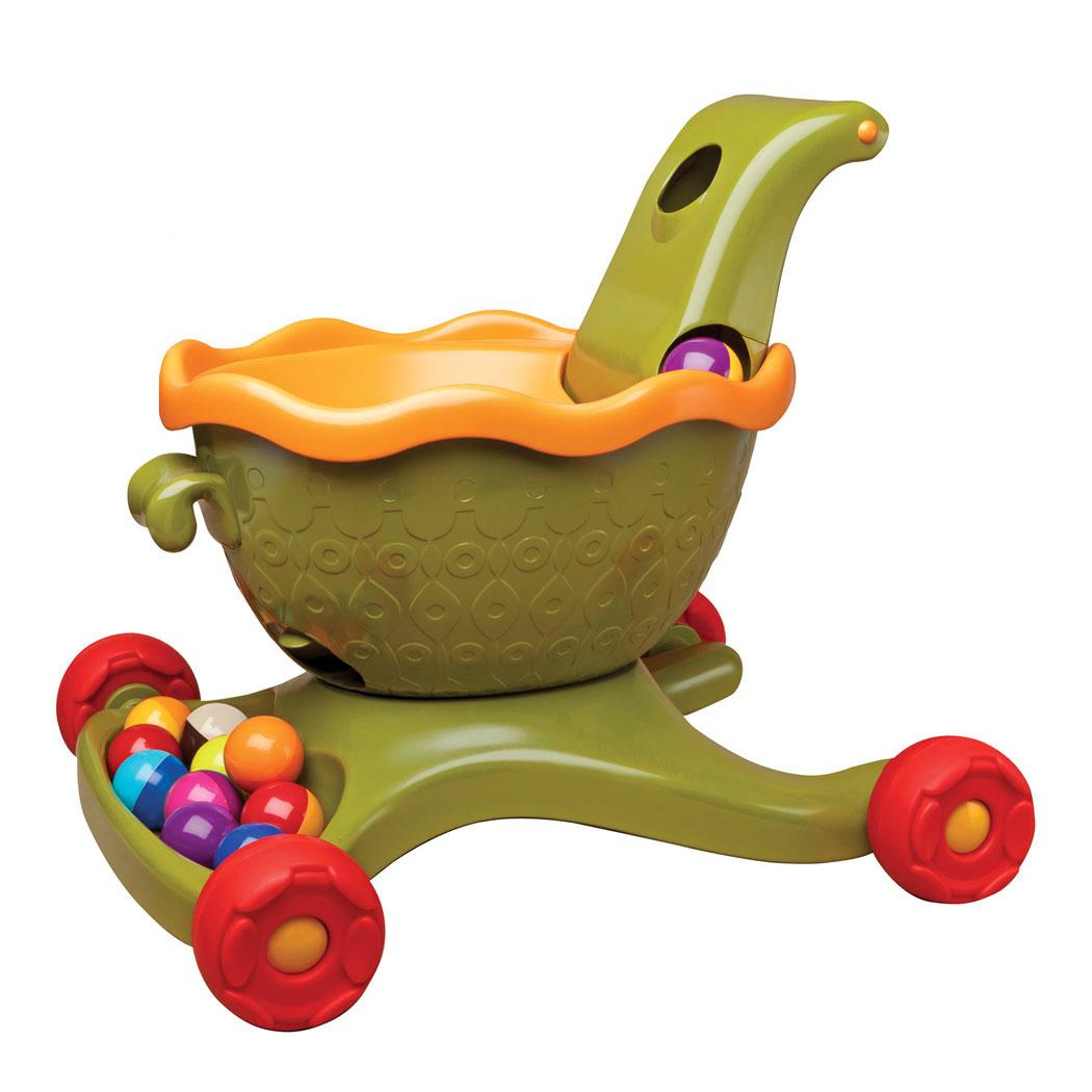 """Каталка-ходунки """"B.Dot"""" приведет в восторг вашего ребенка и поможет ему быстрее научиться ходить. Она выполнена из прочного пластика в виде тележки с разноцветными шариками. Каталка-ходунки оснащена четырьмя резиновыми колесами и широкой ручкой, за которую малышу будет удобно ее катить перед собой. Если бросить шарик в верхнее отверстие, расположенное в ручке, он покатится вниз по кругу, исчезнет внутри тележки и появится в специальном лотке. В комплект входят девять шариков. Ходунки """"B.Dot"""" помогут вашему ребенку в развитии координации движений, кроме того будут стимулировать к ходьбе, развивать баланс."""