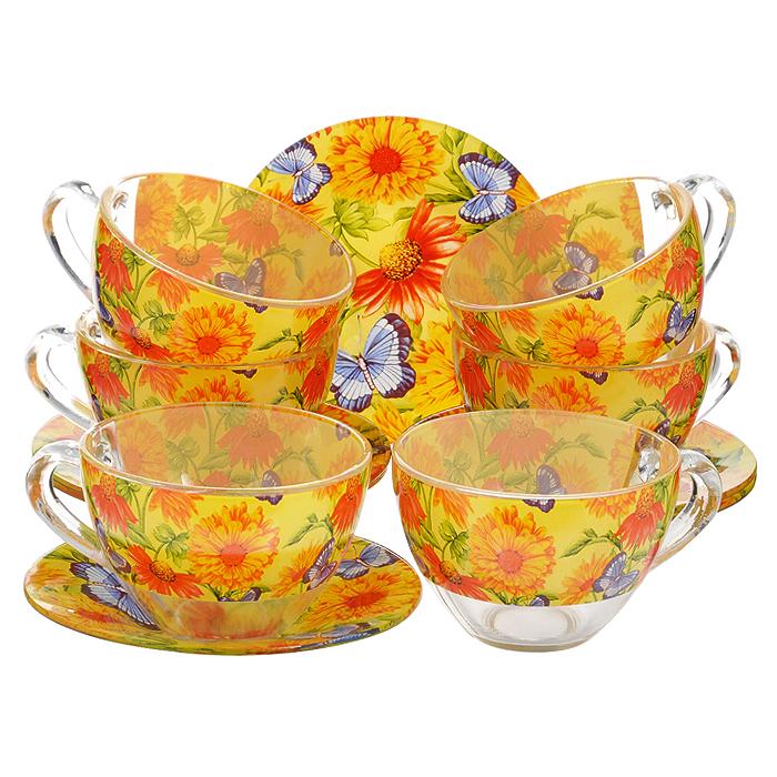 Сервиз чайный Bohmann, цвет: оранжевый, желтый, синий, 12 предметов. 01200BHG115510Чайный сервиз Bohmann состоит из шести чашек и шести блюдец, изготовленных из высококачественного прозрачного стекла. Предметы набора оформлены красочным принтом.Изящный дизайн придется по вкусу и ценителям классики, и тем, кто предпочитает утонченность и изысканность. Он настроит на позитивный лад и подарит хорошее настроение с самого утра. Сервиз чайный - идеальный и необходимый подарок для вашего дома и для ваших друзей в праздники, юбилеи и торжества! Он также станет отличным корпоративным подарком и украшением любой кухни.Диаметр блюдца: 12,5 см.Объем чашки: 200 мл.Диаметр чашки по верхнему краю: 9 см.Высота чашки: 6 см.