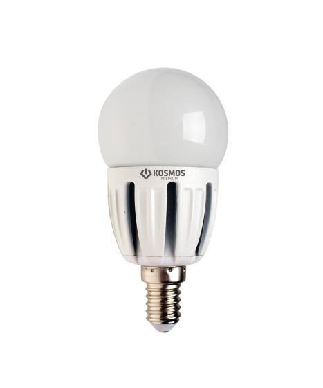 Светодиодная лампа Kosmos Premium, Глоб 45 220V белый свет, цоколь Е14, 5W