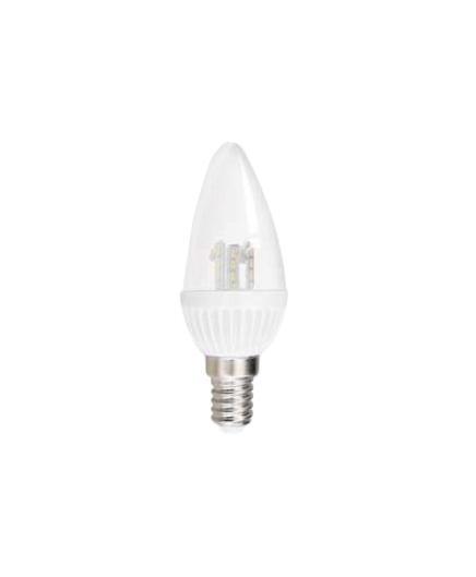Лампа светодиодная Estares Свеча, холодный белый свет, цоколь Е14, 4,5WC0031140Светодиодная лампа Estares Свеча - инновационный и экологичный продукт, специально разработанный для эффективной замены любых видов галогенных или обыкновенных ламп накаливания во всех типах осветительных приборов. Не имеет вредных излучений UF и IR.