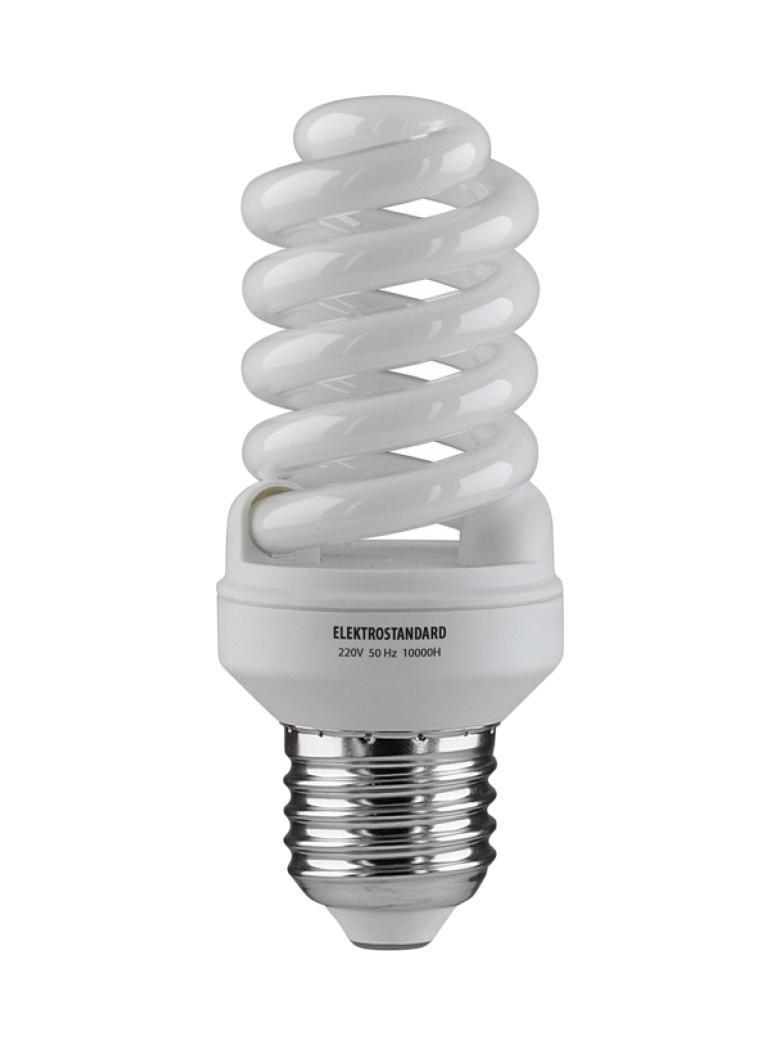 Elektrostandard лампа энергосберегающая Компакт винт, теплый свет, цоколь Е27, 15WC0042418Энергосберегающая лампа Электростандарт Компакт винт способствует расслаблению, ее лучше использовать в спальнях, местах отдыха. Сфера применения энергосберегающей лампы Электростандарт та же, что и у лампы накаливания, но данная лампа имеет ряд преимуществ: температура колбы ниже, чем у ламп накаливания, что позволяет использовать энергосберегающие лампы в тканевых абажурах без риска их выцветания и возникновения пожара; полностью заменяет галогенные и обычные лампы накаливания. Лампа обладает высоким индексом цветопередачи Ra >80. Это означает, что все цвета объектов, освещаемые лампой, выглядят естественно и натурально. Лампа оборудована системой плавного запуска, позволяющего лампе загораться постепенно в течение 1-2 секунд. Электронное пускорегулирующее устройство не вызывает стробоскопического эффекта при работе лампы, что оказывает благоприятное воздействие на глаза человека и его нервную систему.Напряжение: 220 вольт
