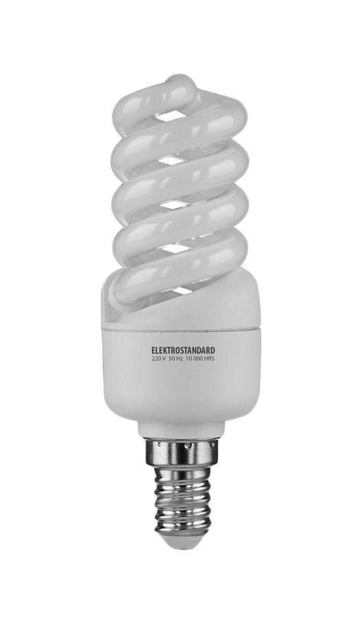 Elektrostandard лампа энергосберегающая Микро винт, теплый свет, цоколь Е14, 13WC0022749Энергосберегающая лампа Электростандарт Микро винт способствует расслаблению, ее лучше использовать в спальнях, местах отдыха. Сфера применения энергосберегающей лампы Электростандарт та же, что и у лампы накаливания, но данная лампа имеет ряд преимуществ: температура колбы ниже, чем у ламп накаливания, что позволяет использовать энергосберегающие лампы в тканевых абажурах без риска их выцветания и возникновения пожара; полностью заменяет галогенные и обычные лампы накаливания. Лампа обладает высоким индексом цветопередачи Ra >80. Это означает, что все цвета объектов, освещаемые лампой, выглядят естественно и натурально. Лампа оборудована системой плавного запуска, позволяющего лампе загораться постепенно в течение 1-2 секунд. Электронное пускорегулирующее устройство не вызывает стробоскопического эффекта при работе лампы, что оказывает благоприятное воздействие на глаза человека и его нервную системуНапряжение: 220 вольт