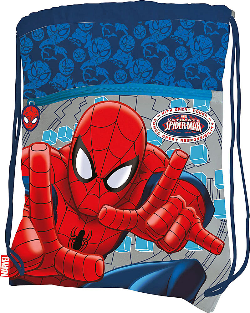 Сумка для сменной обуви Spider-Man, цвет: синий, светло-серыйS76245Сумку Spider-Man удобно использовать как для хранения, так и для переноски сменной обуви. Она выполнена из прочного полиэстера и затягивается сверху текстильными шнурками. На лицевой стороне расположен большой внешний карман на застежке-молнии. Бегунок дополнен удобным текстильным держателем. Два небольших отверстия в нижней части обеспечивают вентиляцию. Плотный материал обеспечит надежность и долговечность сумки. Шнурки фиксируются в нижней части сумки, благодаря чему ее можно носить за спиной как рюкзак. Сумка оформлена ярким принтом с изображением Человека-паука - главного героя мультфильма Spider-Man.