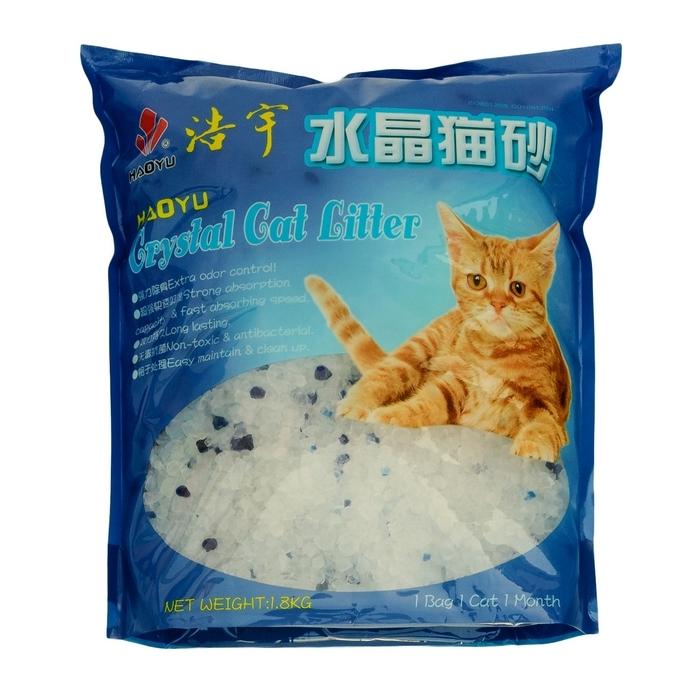 наполнитель cc cat силикагелевый 3 8l Наполнитель для кошачьего туалета Haoyu Crystal Cat Litter, силикагелевый, 1,8 кг