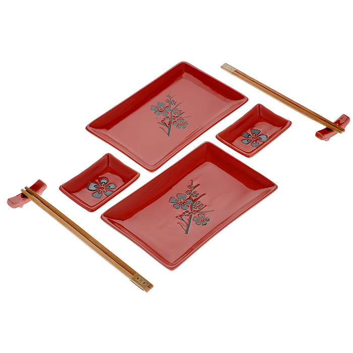 Набор для суши Цветок на красном, 8 предметов54 009305Набор для суши Цветок на красном идеально подойдет для грамотной и красивой сервировки стола на две персоны. В набор входят два комплекта деревянных палочек, две подставки для палочек, 2 тарелки для роллов,2 тарелки для соуса. Все это уложено в картонный ящичек с прозрачной крышкой из пластика.Набор для суши - это прекрасный подарок для ваших друзей или родственников, который подарит новые ощущения во время трапезы, а также придаст вашему интерьеру восточный колорит. Характеристики: Материал: фарфор, дерево. Длина палочки: 22,5 см. Размер подставки: 5 см х 1 см. Размер тарелки для роллов: 12,5 см х 19,5 см. Размер тарелки для соуса: 9 см х 6 см. Страна: Китай.