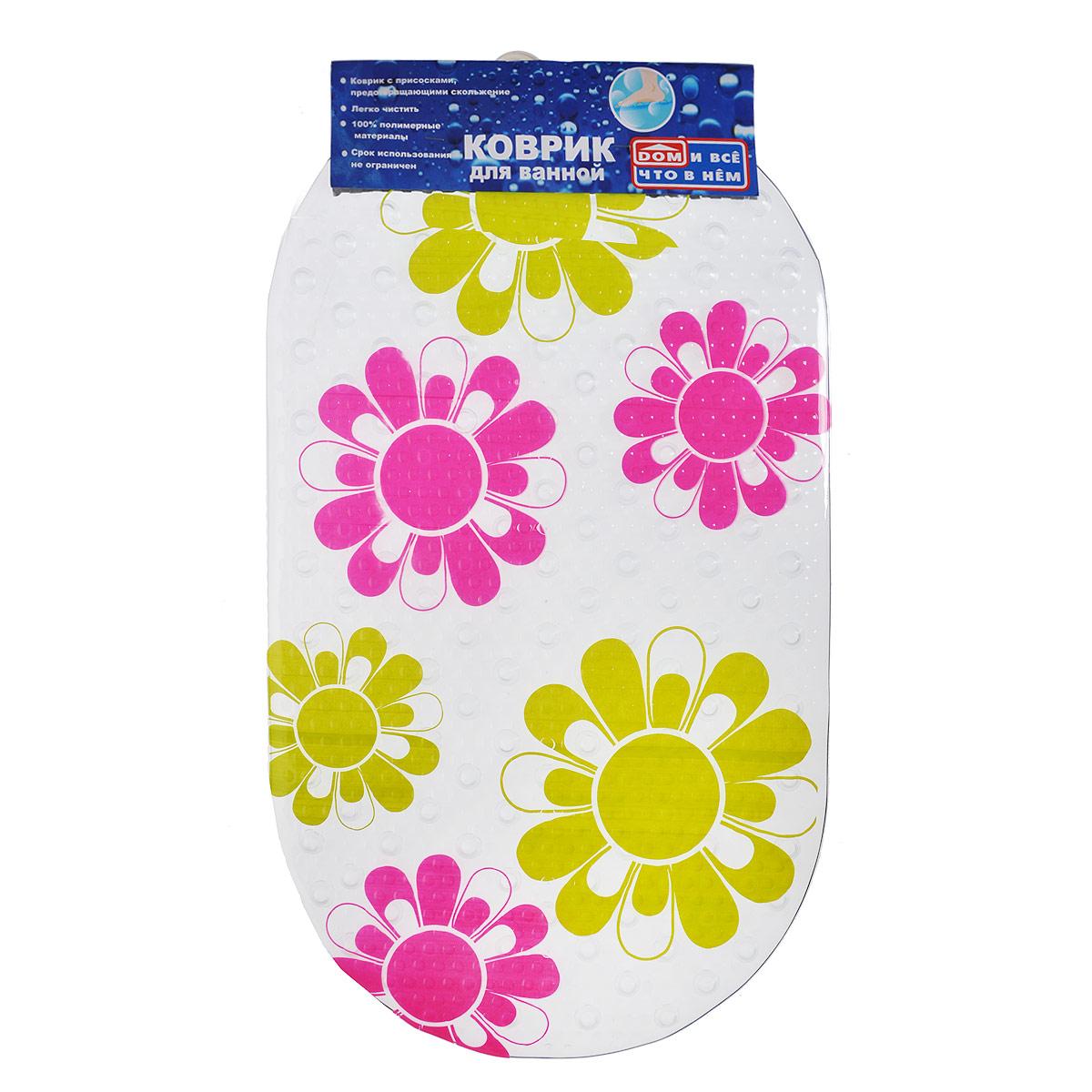 Коврик для ванны Цветы, цвет: желтый, розовый, 67 х 37 смRG-D31SКоврик для ванны и душевой кабины Цветы, выполненный из винила и оформленный рисунком в виде цветов.Противоскользящий коврик для ванны - это хорошая защита детей и взрослых от неожиданных падений на гладкой мокрой поверхности.Коврик очень плотно крепится ко дну множеством присосок, расположенных по всей изнаночной стороне. Отверстия, предназначенные для пропуска воды, способствуют лучшему сцеплению с поверхностью, таким образом, полностью, исключая скольжение. Принимая душ или ванную, постелите противоскользящий коврик. Это особенно актуально для семьи с маленькими детьми и пожилыми людьми. Характеристики: Материал:винил. Размер:67 см х 37 см.