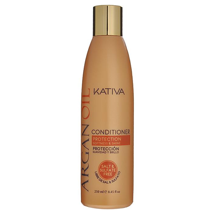 Kativa Увлажняющий кондиционер для волос с маслом Арганы ARGAN OIL, 250млFS-00897Кондиционер увлажняет, питает, придает блеск и шелковистость волосам. Высококачественное аргановое масло насыщает волосы необходимыми витаминами, антиоксидантами и жирными кислотами. Кондиционер способствует лучшему расчесыванию волос, предотвращает их ломкость.В состав входит аргановое масло, содержащее масло Е, антиоксиданты и Омега 3 и 9. Увлажняет, питает и придает волосам блеск и гладкость. Продлевает эффект выпрямления.Способ применения: нанесите на чистые вымытые волосы только по длине, оставьте на 2-3 минуты для лучшего воздействия, а затем тщательно смойте.