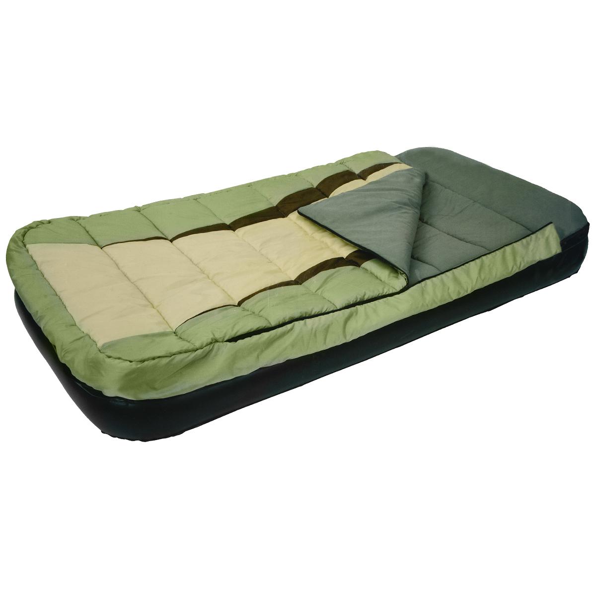 Кровать надувная Relax со спальником, 190 х 99 х 25 смJL027008NКровать Relax проста в использовании, очень комфортная, не занимает много места при хранении. Сдержанный дизайн и нейтральные цвета подходят к любому интерьеру и делают надувную кровать Relax отличным выбором для домашнего использования. Надувная кровать и спальный мешок могут быть использованы совместно или по отдельности.- Спальник фиксируется к кровати с помощью молнии.- Время надувания 2-3 минуты.- Самоклеящаяся заплатка прилагается.