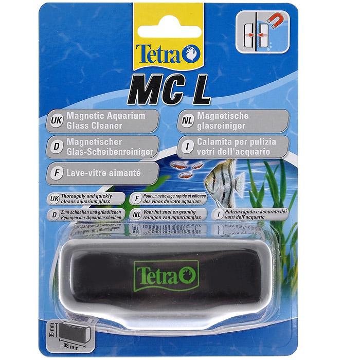 Скребок для аквариума Tetra MC L магнитный0120710Магнитный скребок для аквариума Tetra предназначен для быстрой и тщательной очистки стекол аквариума от налета и обрастаний.Для аквариумов с толщиной стекла до 10 мм.Скошенные кромки скребка не повреждают силиконовые швы аквариума, не оставляет царапин на стекле.Удобная эргономичная ручка.Подходит для аквариумов с пресной и морской водой.Рабочая поверхность скребка 9,8 см х 3,5 см.