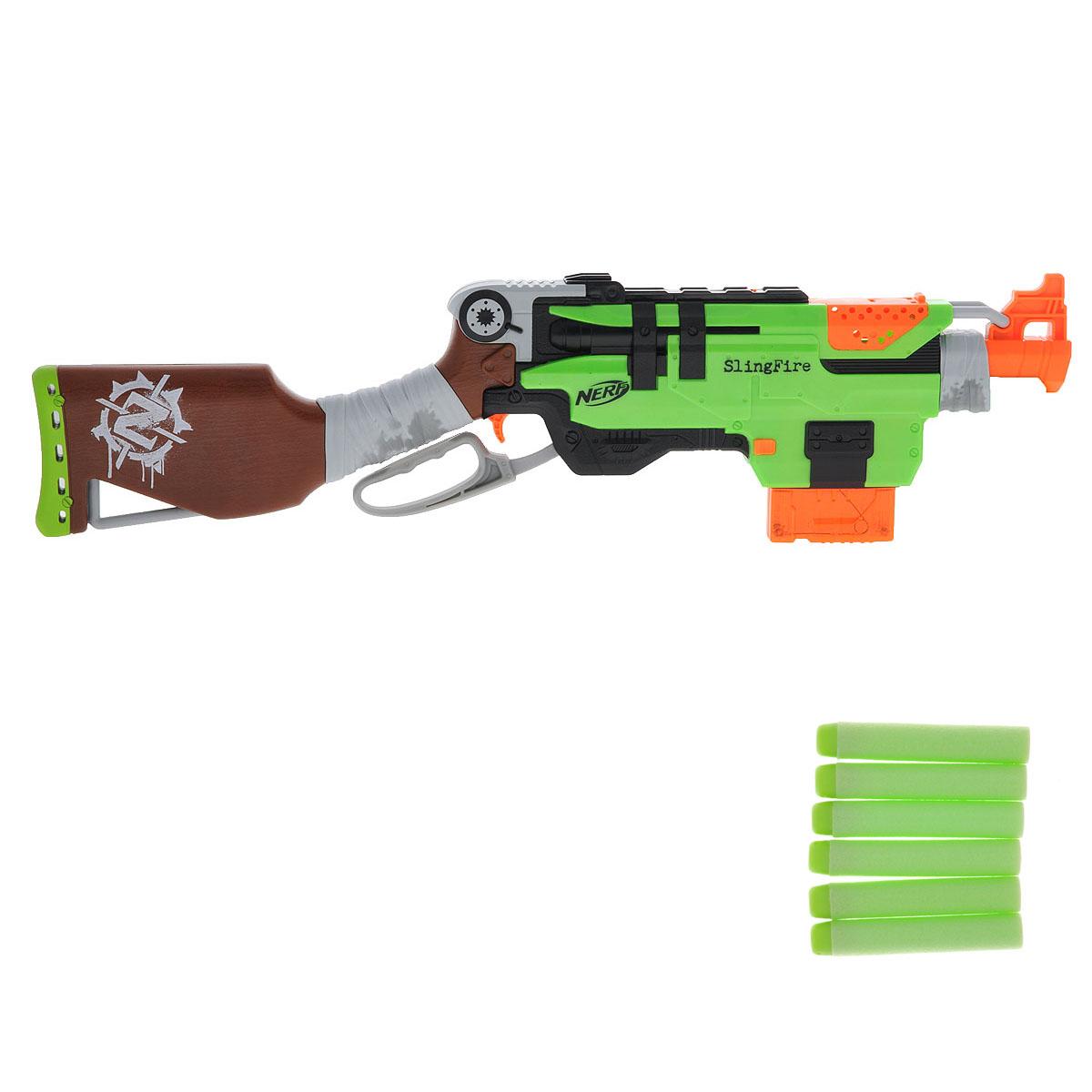 """Бластер Nerf """"Zombie Strike: Slingfire"""" позволит вашему ребенку почувствовать себя во всеоружии! Он выполнен из яркого прочного пластика салатового, коричневого и оранжевого цветов. Стреляет путем нажатия на курок на расстояние свыше 22 метров. Комплект включает в себя шесть патронов, выполненных из гибкого вспененного полимера. Игра с таким бластером поможет ребенку в развитии меткости, ловкости, координации движений и сноровки."""